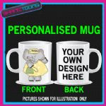 CUTE ELEPHANT LOVE ELEPHANTS MUG PERSONALISED GIFT WRITING & PICTURE